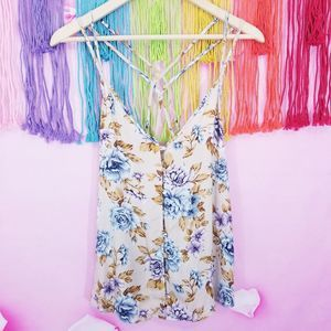 AE Floral Boho Button Down Strappy Tank Top